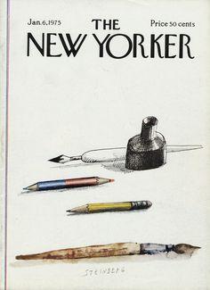 The New Yorker - Monday, January 1975 - Issue # 2603 - Vol. 50 - N° 46 - Cover by : Saul Steinberg The New Yorker, New Yorker Covers, Saul Steinberg, Typography Prints, Magazine Design, Book Design, Cover Art, New Art, Illustration Art