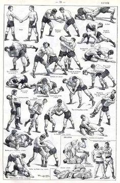 Here you see typical wrestling holds, arm bars similar to in jiu-jitsu ...