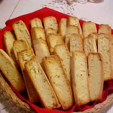 "♨  Italian Anise Toast Recipe; Original recipe makes 16 slices.  2 eggs, 2/3 cup white sugar, 1 teaspoon anise seed and 1 cup all-purpose flour. Quite often my ""toast"" never reaches the oven the second time. I like it hot right out of the oven the 1st time with a glass of cold milk. ♨"