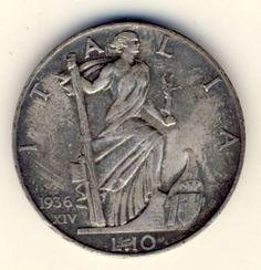 Italy 1936 Ten Lire AU with excellent rim