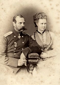 Grand duchess Maria Alexandrovna with father, Tsar Alexander II, 1870s