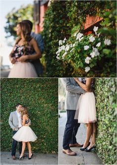 Downtown Charleston engagement photos with a wall of ivy by wedding photographer JoPhoto.