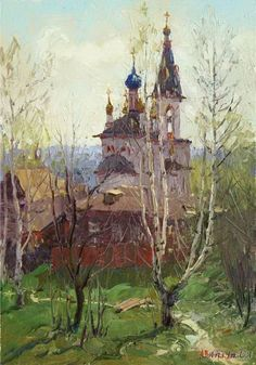 Весна в России - Вилков Андрей Russian Painting, Russian Art, Landscape Paintings, Landscapes, Oil Painting Techniques, Impressionist, Folk Art, Watercolor, Artwork