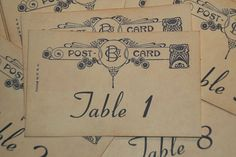 Wedding Table Number Cards - Vintage Postcard Style - Quantity 20