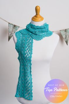 Luxury, lightweight silk-cotton-bamboo blend yarn gives cool comfort to this gorgeous lace scarf. Crocheted lengthwise and edged with an elegant scallop pattern, this breezy design is ideal for cooler spring days. Crochet Scarves, Crochet Shawl, Crochet Clothes, Free Crochet, Crochet Wraps, Lace Scarf, Scarf Wrap, Crochet Patterns, Crochet Ideas