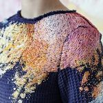 Paint Splotch Embroidery by Olya Glagoleva and Lisa Smirnova.. Designer Olya Glagoleva in collaboration with Russian artist Lisa Smirnova (previously) captured this look with an elegantly designed twist. All of the clothing included in their collection is embroidered in the style of Smirnova, with the markings of accidental paint drips and doodles adorning each of the jumpsuits, dresses, and smock-like blouses. The pieces are all one-of-a-kind, transforming the clothing into unique artworks…