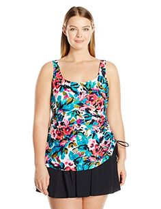 562e5373b16 Introducing Maxine of Hollywood Womens Plus Size English Garden Swim Dress  One Piece Swimsuit Multi 18W