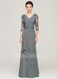 A-Line/Princess V-neck Floor-Length Chiffon Lace Mother of the Bride Dress With Beading Sequins (008062572) - JJsHouse