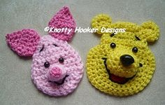 Knotty Hooker Designs: Pooh & Piglet Inspired Appliques ~ PURCHASED pattern for these two cuties ~ CROCHET - love them! not expensive either. Crochet Applique Patterns Free, Crochet Motif, Crochet Designs, Crochet Yarn, Crochet Flowers, Crochet Toys, Crochet Stitches, Crochet Appliques, Cute Crochet