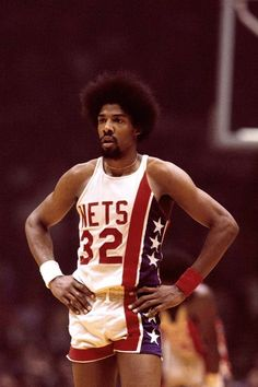 Erving, as seen in his now retired jersey on the New York Nets Basketball Legends, Sports Basketball, Basketball Players, Nba Pictures, Basketball Pictures, Retro Nba Jerseys, Sports Memes, Sports Photos, Basketball