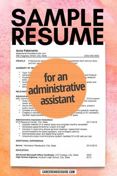 Resume example for an administrative assistant - This sample office admin resume shows you how to format your resume when you have relevant paid work experience, but your most recent relevant experience was obtained through volunteer work. #resumes #careerchoiceguide Resume Layout, Resume Tips, Resume Writing, Resume Design, Resume Examples, Sample Resume, Cover Letter Tips, Writing A Cover Letter, Cover Letters