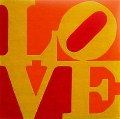 One of Robert Indiana's LOVE paintings using slab-serif, stacked caps.