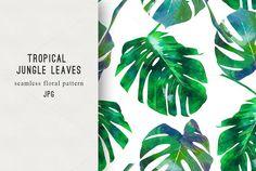Watercolor jungle leaves pattern  @creativework247