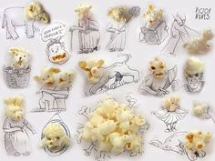 Ordinary Food Makes For Beautiful Additions to Creative Sketches:  Victor Nunes Faces