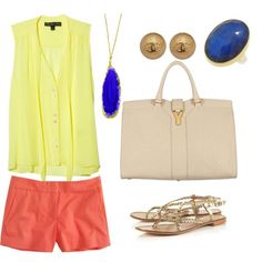 a dash of color, created by #tricciagonzales on #polyvore. #fashion #style Elizabeth and James J.Crew