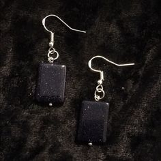 Sparkling blue goldstone earrings Lovingly handmade Sparkling  blue goldstone earrings with .925 Sterling silver hooks Jewelry Earrings