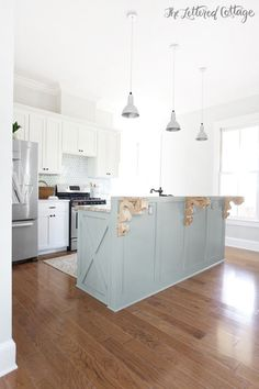 The Lettered Cottage Kitchen | Heather Gray Island | Gray Owl Walls | Simply White Cabinets and Trim | Cottage | Farmhouse