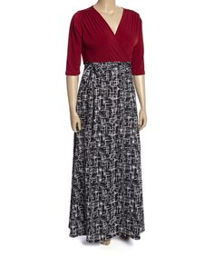 Loving this Burgundy & Black Abstract Surplice Maxi Dress - Plus on #zulily! #zulilyfinds