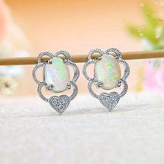 18k White Gold Rainbow Fire Solid Australian Crystal Opal, Diamond Heart Stud Earrings