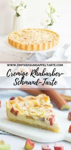 Rhabarber-Vanilleschmand-Tarte mit Mandeln - der perfekte Frühlings-Kuchen - ganz einfaches und schnelles Rezept auf meinem Blog - super cremig, super lecker Rhubarb Custard tart #Tarte #Rhabarber #Schmand #Vanillecreme