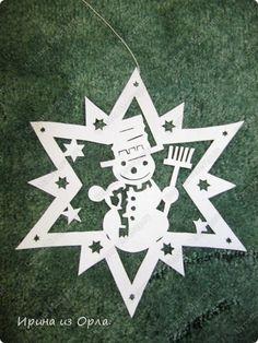 Трафарет снежинки с пейзажем