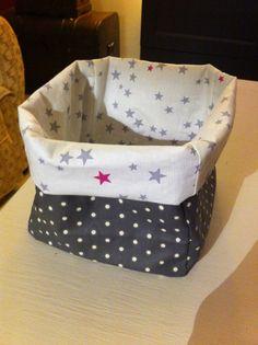 Panier toile enduite et tissu étoile chouette kit