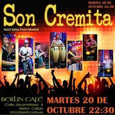 Feliz fin de semana familia salsera!!! Próxima parada salsera, será este martes 20 de octubre a las 22:30 horas en el Café Berlin de Madrid, calle jacometrezo 4, metro Callao!! Vuelve la mejor salsa de Madrid en directo!! Vamos a subir la temperatura, te esperamos para bailar y gozar de la Hard Salsa Night!! 5€ con Cerveza. #salsa #Madrid #conciertos #bailar