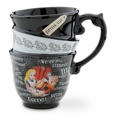 Alice in Wonderland Tea Mug -- I'm late for latte! Alice's madcap mug looks like three teacups stacked together, but a Hatter can enjoy any hot beverage in this most curious Wonderland cup.