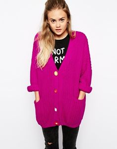 Lazy Oaf Oversized Grandad Cardigan With Flower Buttons