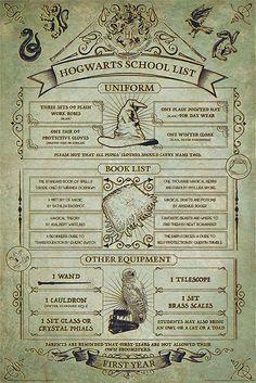 - affisch - stående format - 61 x 91,5 cm Vill du veta exakt vad Harry, Ron och Hermione behöver för deras första skolåret? Hugg denna affisch. Den säger allt en förstaårsstudent vid Hogwarts behöver.