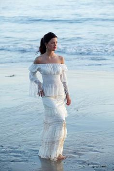 If we ever do a vow renewal on the beach.  LOVE THIS LOOK !!! Peasant Top with Lace & Cinderella Caramella Skirt