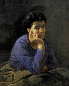 Nikolai Ge - Porträt einer unbekannten Frau in einem blauen Bluse