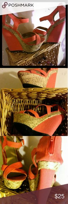 Liliana high wedge Coral strappy sandal Beautiful coral colored strappy sandal canvas material cork wedge as well as Coral material on the heel ankle buckle closure strappy over top of the foot size 8 very good condition gently used Liliana Shoes