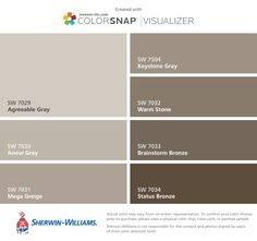 I found these colors with ColorSnap® Visualizer for iPhone by Sherwin-Williams: Agreeable Gray (SW 7029), Anew Gray (SW 7030), Mega Greige (SW 7031), Keystone Gray (SW 7504), Warm Stone (SW 7032), Brainstorm Bronze (SW 7033), Status Bronze (SW 7034).