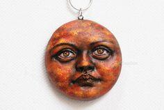 Sun pendant original art as jewelry: hand by MagicsOfCreation
