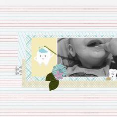 Growin' Some Teeth! Baby Teething Digital Scrapbooking Layout using the Tooth Fairy Bundle at Pixel Scrapper