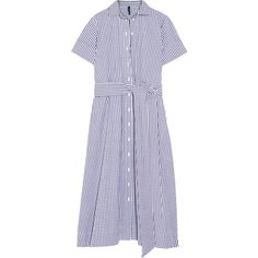 Lisa Marie Fernandez Gingham cotton shirt dress (€435) ❤ liked on Polyvore featuring dresses, blue, long shirt dress, sash belt, pattern dress, print dress and gingham shirt dress