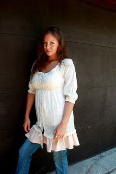 REVIVAL Upcycled Boho Shirt Shabby Chic Junk Gypsy Country Girl Farm Girl style