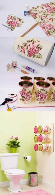 Use tin cans to make easily towel storage. #Bathroomdecorating #DIY www.funcraftsclub.com