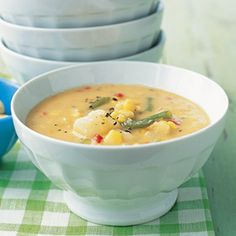 Vegetable Chowder  Corn, bell peppers, and green beans give this hearty soup its fresh, summery flavor; make a batch now, then freeze for up to six months.