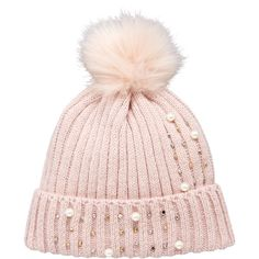 V By Very Pearl And Embellished Detail Beanie ($20) ❤ liked on Polyvore featuring accessories, hats, pink pom pom beanie, ribbed beanie hat, pink beanie, beanie hat and pompom hat
