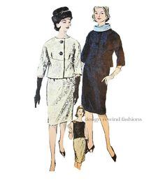 1960s Vogue SUIT Pattern Collarless JACKET SKIRT & TOP at DesignRewindFashions - Vintage to Modern Sewing Patterns on Etsy & Goodsmiths