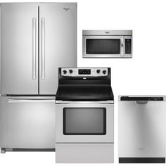 KIT Whirlpool 4 Piece Stainless Steel Kitchen Appliance Package with ...