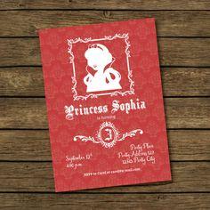 Snow White Birthday Party Invitation  Printable by BashDesigns15