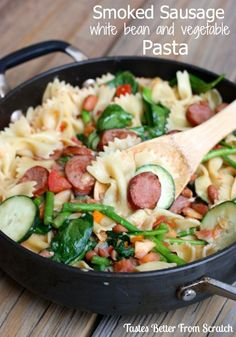 Smoked Sausage, White Bean and Vegetable Pasta | Tastes Better From Scratch