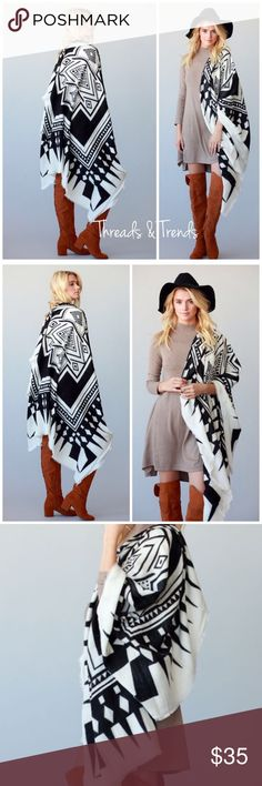 "Tribal Print Blanket Scarf Cape/Poncho BLACK AND WHITE BOHO CHIC TRIBAL PATTERN BORDER PRINT THICK AND SOFT OVERSIZE SUQARE SCARF/BLANKET SCARF, Cape/Poncho 100% ACRYLIC 55"" X 55"".                 Search ID # chunky knit long infinity cowl neck scarf Threads & Trends Accessories Scarves & Wraps"