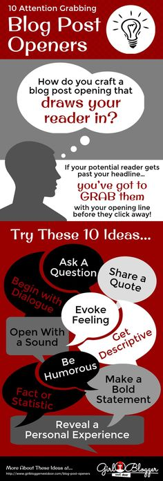 10 Attention-Grabbing Blog Post Openers #infographic - http://michelleshaeffer.com/blog-post-openers/2015/01/01