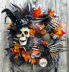 A personal favorite from my Etsy shop https://www.etsy.com/listing/471680557/mr-bones-wreath-halloween-wreath