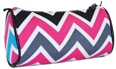 Ever Moda Black Multicolor Chevron Cosmetic Makeup Bag -- Tried it! Love it! Click the image. : Travel cosmetic bag