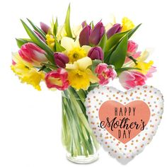 MOTHER'S DAY HAPPINESS #MothersDay #flowers #thankyou #mum #iloveyou #mom #springflowers #tulips #daffodils #balloon #giftideas #giftforher #mothersdaygifts